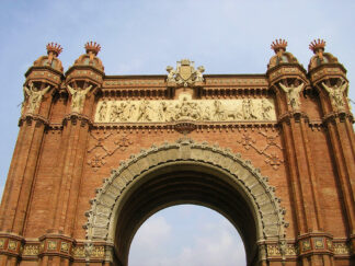 image of the arc de triomphe in barcelona, constructed to welcome visitors to the city
