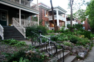 photo of fourplexes tucked into a neighbourhood in Minneapolis.