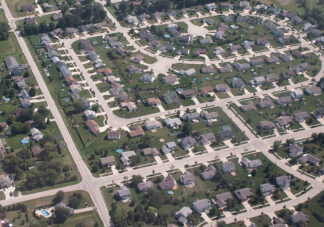 Arial photo of an American suburb