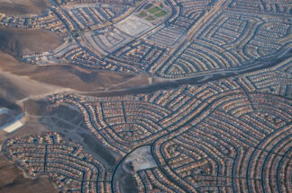 view of Las Vagas suburb from the air
