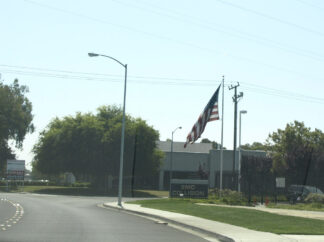 Image of large stars and stripes flag in Fremont California