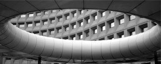 Image of HUD office in washington, through a circular sculpture