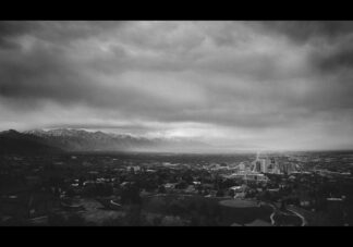 Salt Lake City under cloudy and grey skies