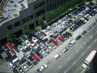 image of a full valet parking lot, taken from above