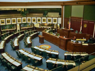 Interior view of the House of Representatives in the Florida State Capitol