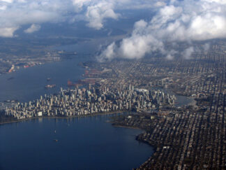 view of downtown Vancouver from the air