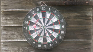 dart board with bull's eye and other close shots