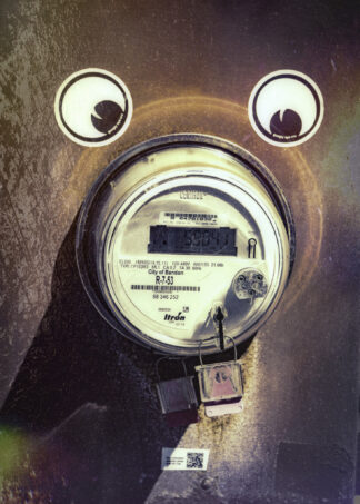 image of goofy bear, with electrical meter for snout