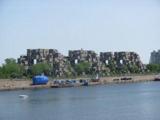 view across water of Expo 67's Habitat project