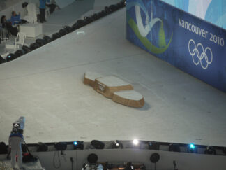 vacant podium used to award medals during the Vancouver 2010 Olympics