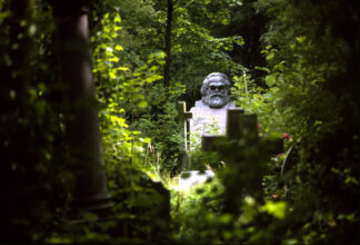 grave of Karl Marx in green grotto