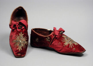 red velvet slippers with embroidery, with red ribbon ties