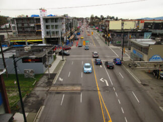 arial view of the six lanes of west 4th avenue in Vancouver