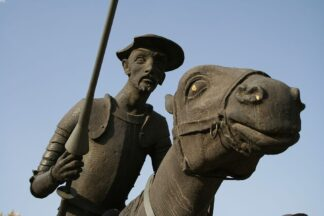 statue of Don Quixote and his horse in Alcazar, Spain