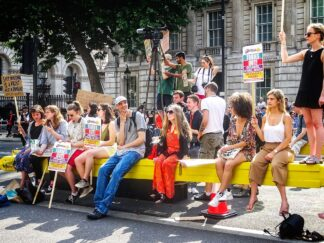 housing protest at Prime Minister's home in London, 2017
