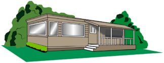 clip art image of mobile home with porch