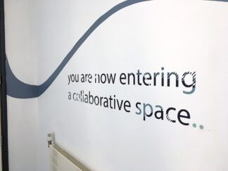 poster bearing text you are not entering a collaborative space..