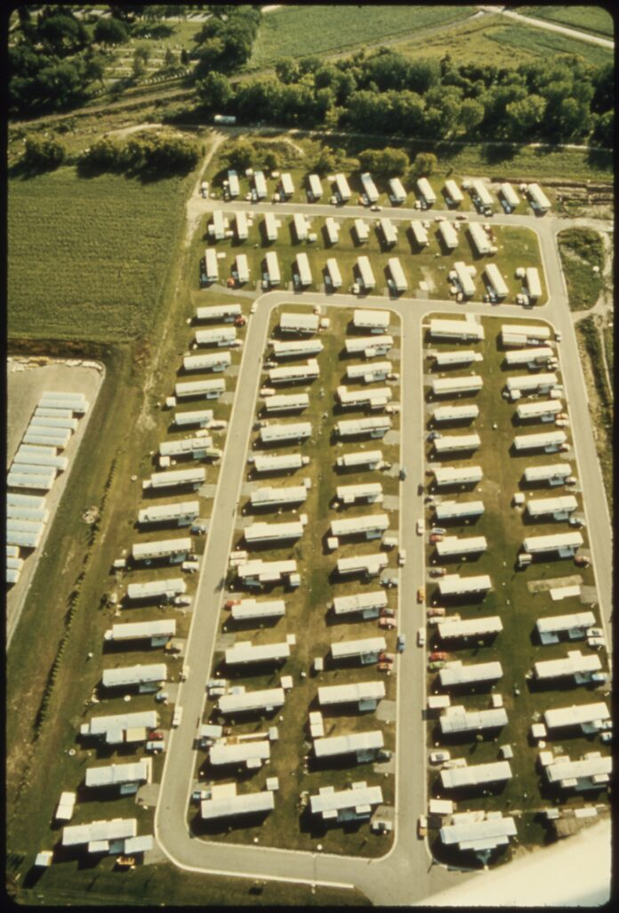 arial view of mobile home park