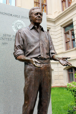 bronze statue of Jimmy Carter, US President 1977 to 1981