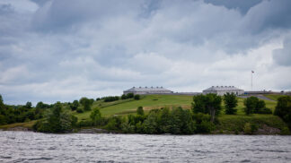 view of Fort Henry in Kingston Ontario taken from a boat in the St. Lawrence River