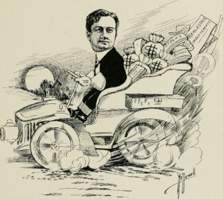 cartoon sketch of J Harvey McCarthy in car loaded with investment documents