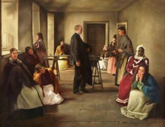 painting of George Manly Muir visitng women in prison, circa 1912
