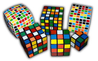 six examples of rubik's cubes