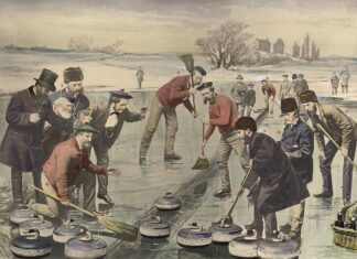 colourized photo of several men at an outdoor curling match on the Keating Channel in Toronto