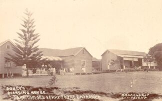 Black and white postcard of boarding house in New South Wales