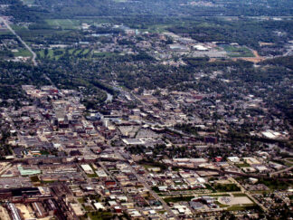 view of downtown South Bend Indiana from the air
