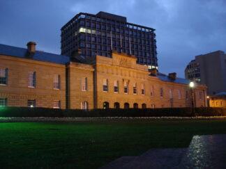 Tasmania Legislatve assembly at night