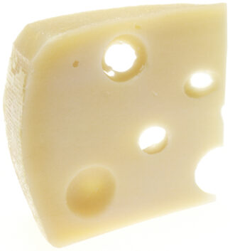 wedge of cheese with holes through