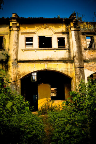 A spooky-looking abandoned colonial pre-World War II building in Malaysia.