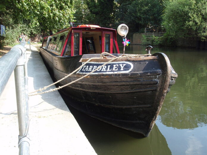 example of narrowboat on Regents Canal, London
