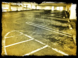 empty spaces in a parking garage