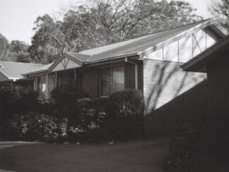 black and white image of retirement community in Olinda, Victoria, Australia