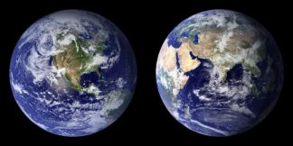 image of eastern and western hemispheres from space