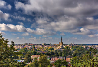 bird's eye view of Norwich, where energy efficient affordable housing is being built