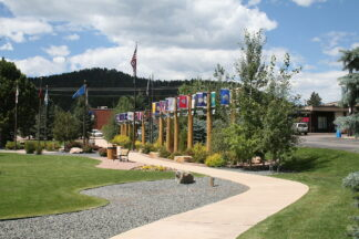 Woodland Park, Colorado's park flying flags of all 50 states