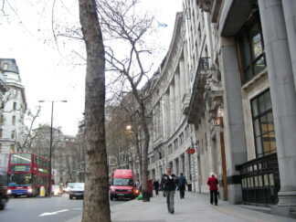 view of street with London School of Economics banner