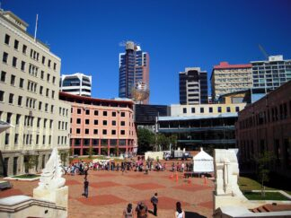 Civic Square, View of Civic Square, downtown Wellington, New Zealand.