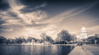 clouds above the reflecting pool in Washington DC