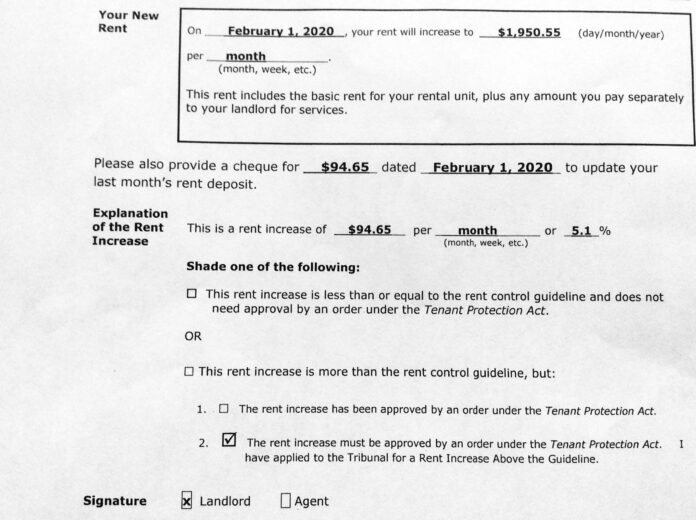 An Ontario Provincial Government form section from a landlord rent increase notice