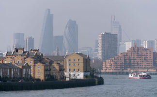 View of Southwark, London and the River Thames