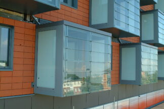 close up of prefabricated balconies