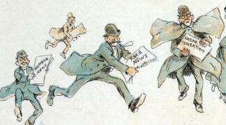 sketch of man running with newspaper bearing the headline fake news