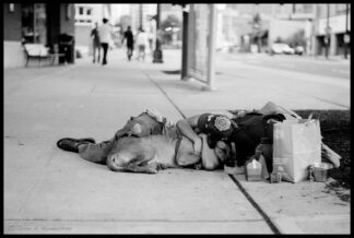 man and dog sleeping together on sidewalk