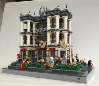 An elaborate multi-story lego building