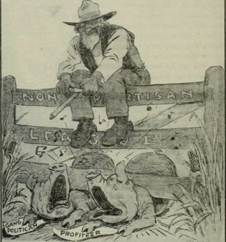 1890 cartoon of farmer sitting on a gate, trapping 2 capitalist pigs, labelled 'gang politician and 'profiteer'
