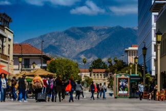pedestrians stroll in historic Pasadena